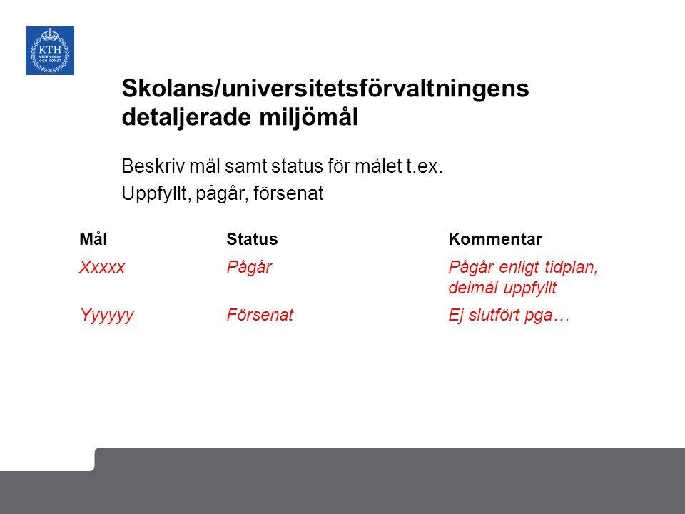 Skolans/universitetsförvaltningens detaljerade miljömål