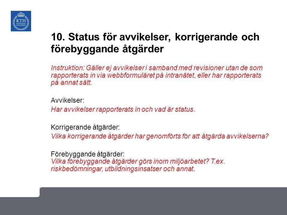 10. Status för avvikelser, korrigerande och förebyggande åtgärder