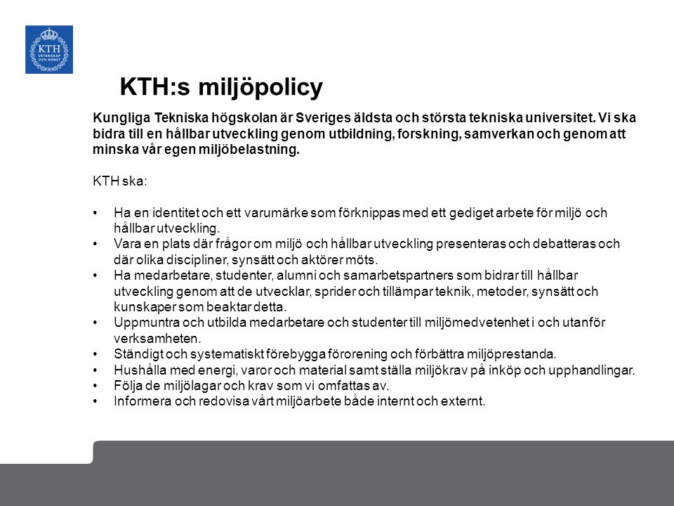 KTH:s miljöpolicy