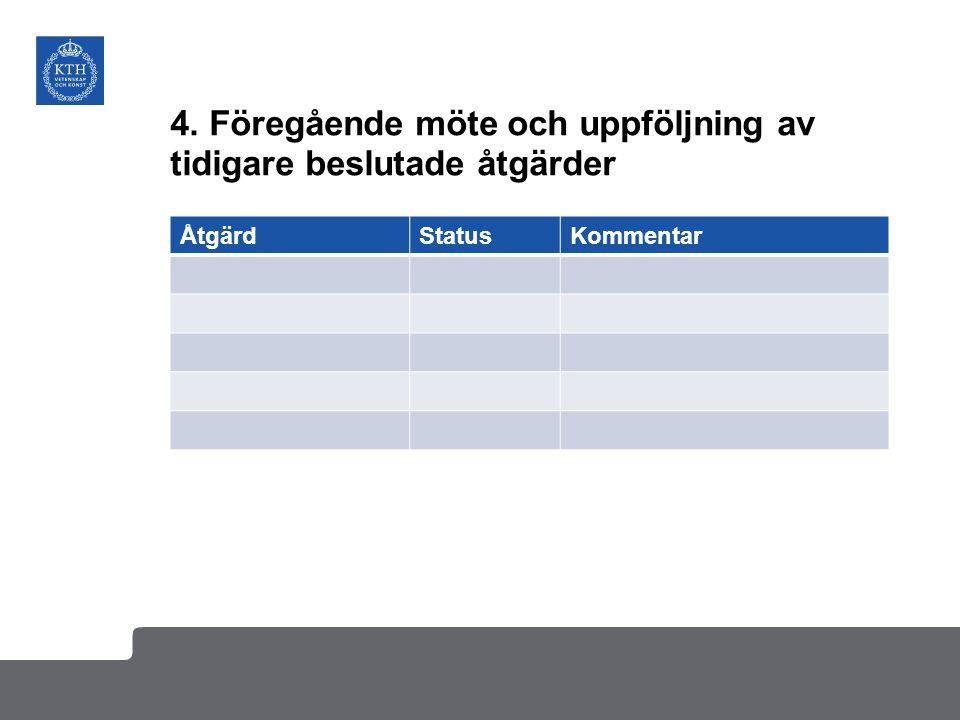 4. Föregående möte och uppföljning av tidigare beslutade åtgärder
