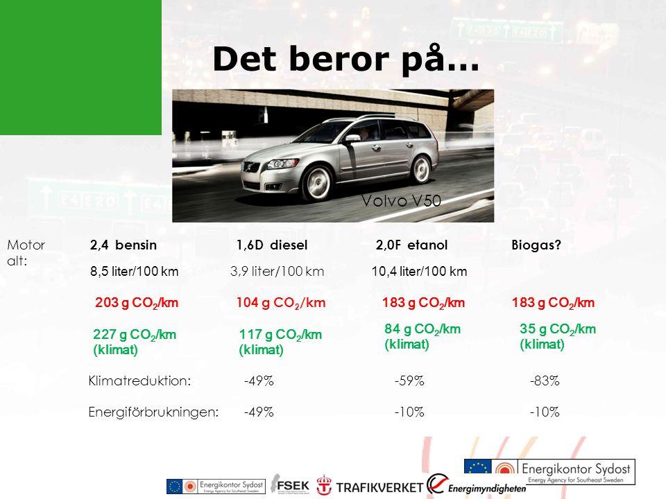 Det beror på… Volvo V50 Motor alt: 2,4 bensin 1,6D diesel 2,0F etanol