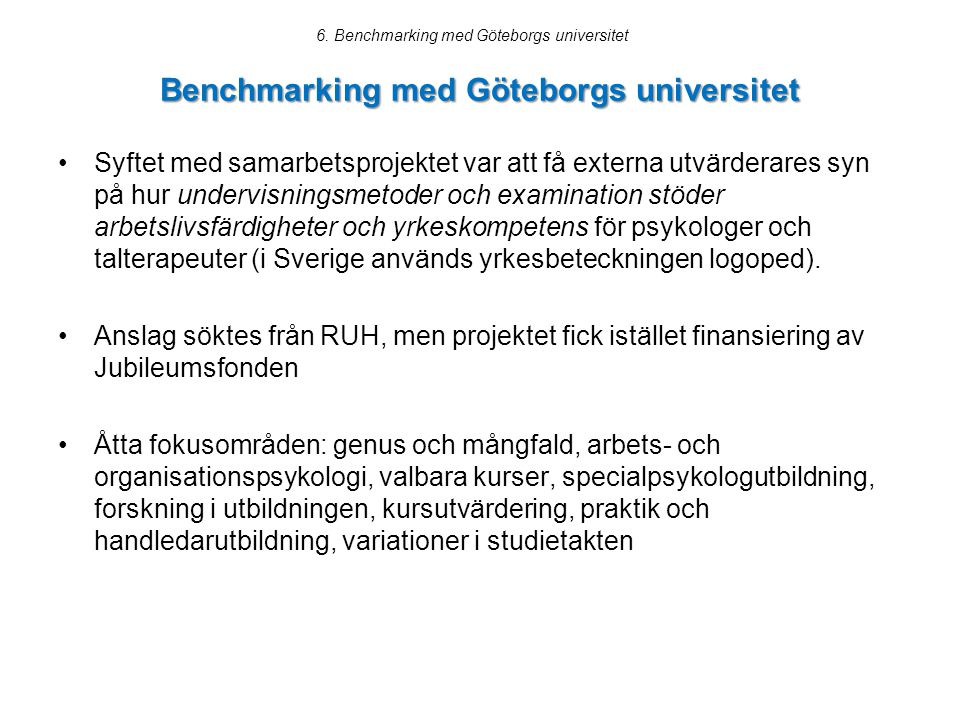 Benchmarking med Göteborgs universitet