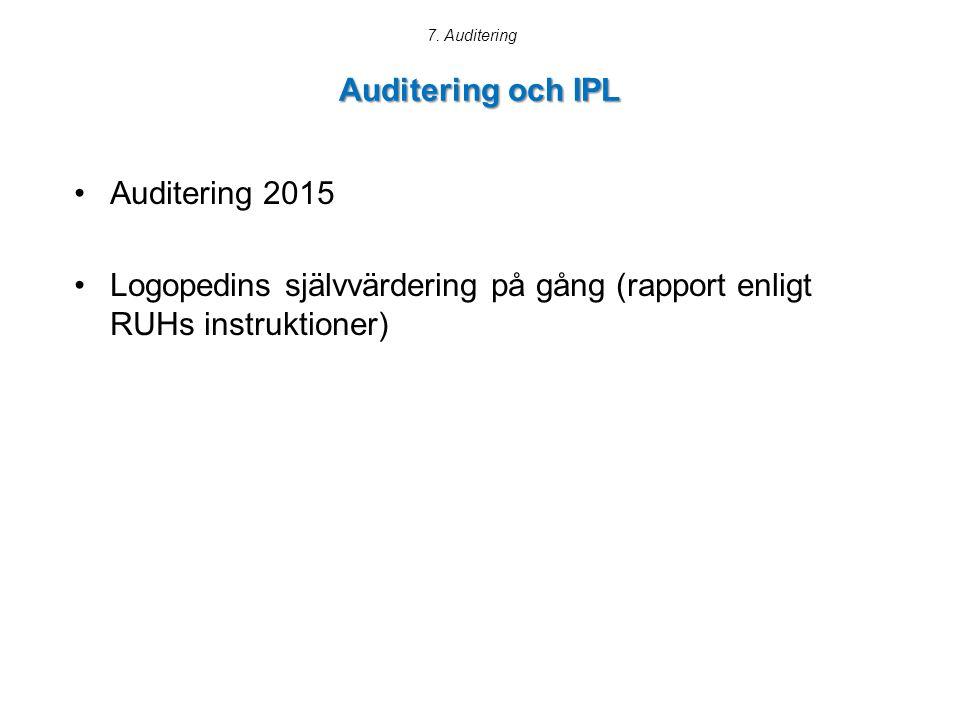 Logopedins självvärdering på gång (rapport enligt RUHs instruktioner)