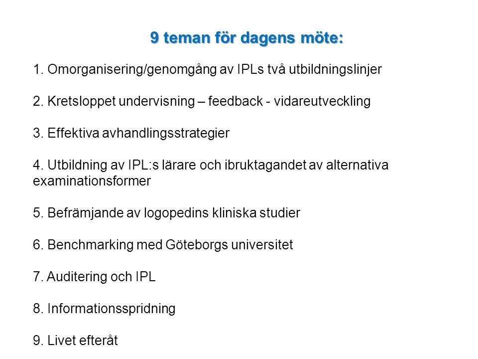 1. 9 teman för dagens möte: 1. Omorganisering/genomgång av IPLs två utbildningslinjer. 2. Kretsloppet undervisning – feedback - vidareutveckling.