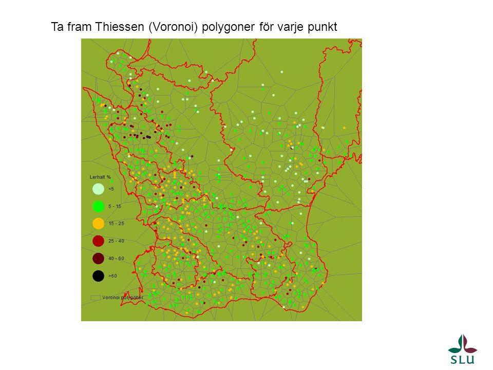 Ta fram Thiessen (Voronoi) polygoner för varje punkt