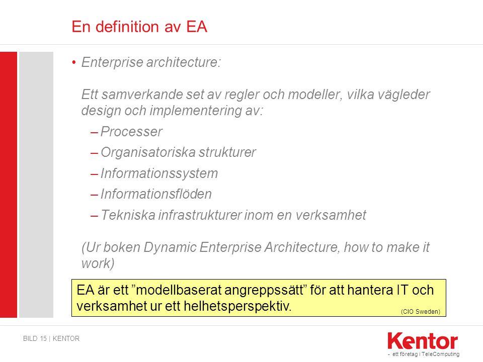 En definition av EA Enterprise architecture: Ett samverkande set av regler och modeller, vilka vägleder design och implementering av: