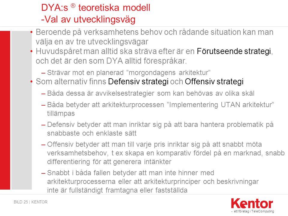 DYA:s ® teoretiska modell -Val av utvecklingsväg