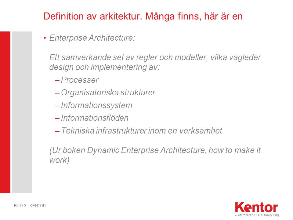 Definition av arkitektur. Många finns, här är en