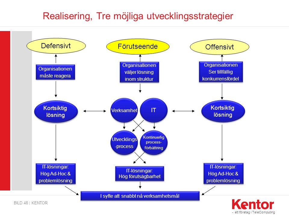 Realisering, Tre möjliga utvecklingsstrategier