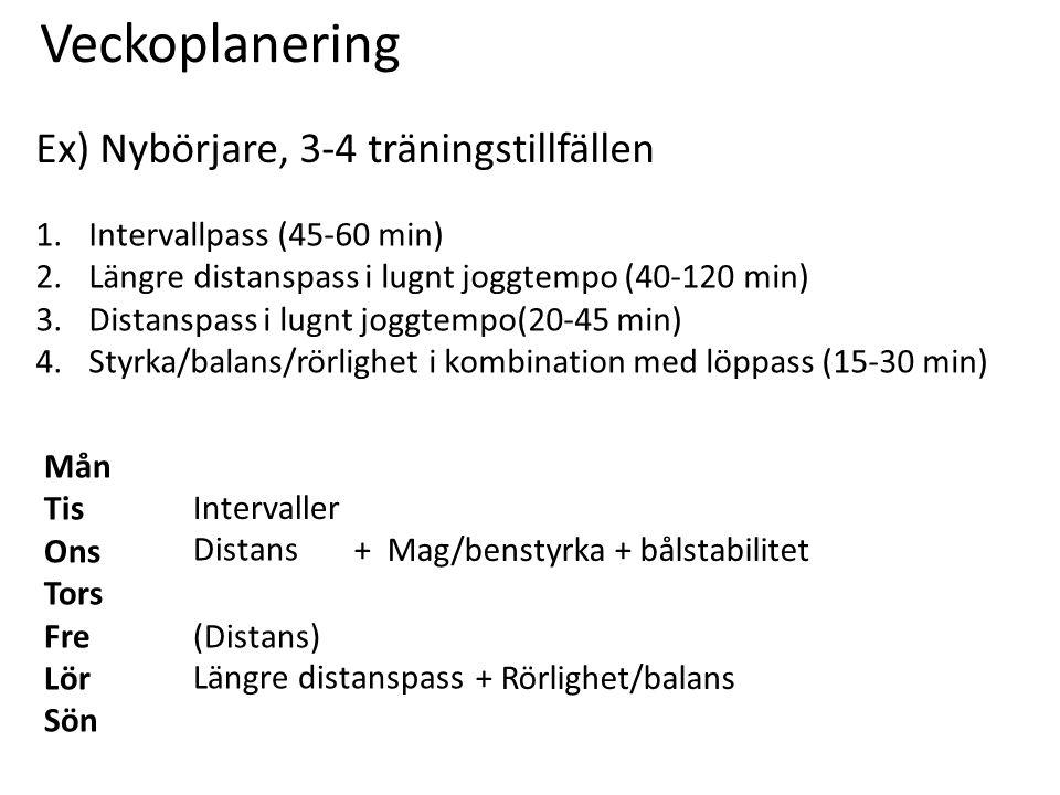Veckoplanering Ex) Nybörjare, 3-4 träningstillfällen