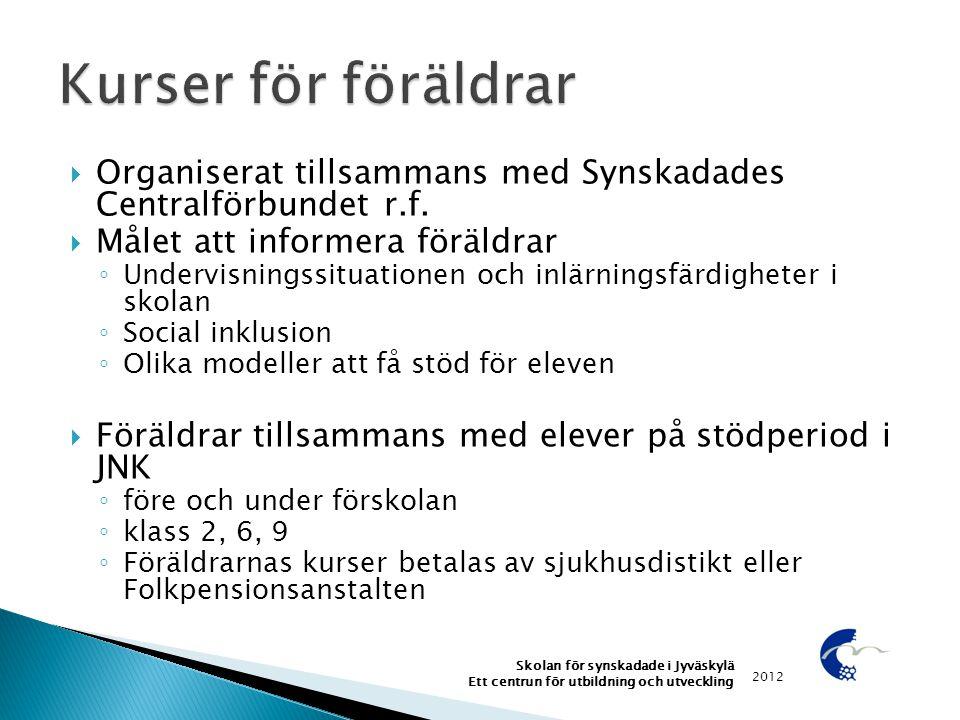 Kurser för föräldrar Organiserat tillsammans med Synskadades Centralförbundet r.f. Målet att informera föräldrar.