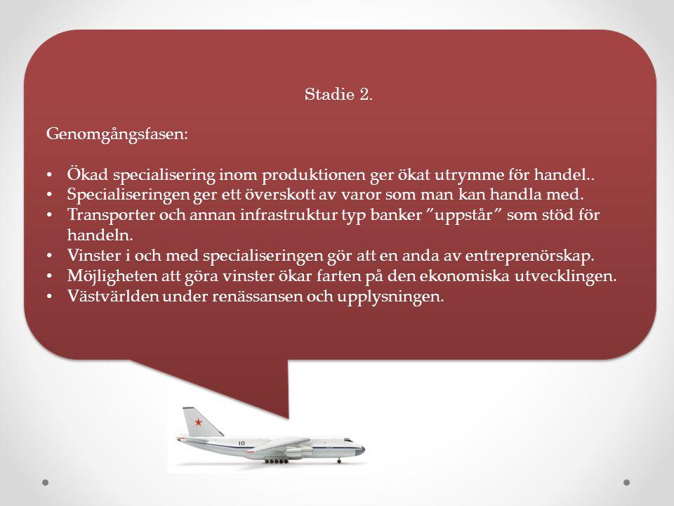 Stadie 2. Genomgångsfasen: Ökad specialisering inom produktionen ger ökat utrymme för handel..