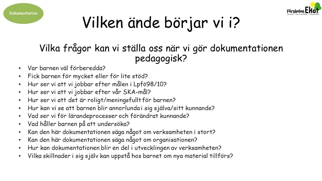 Vilka frågor kan vi ställa oss när vi gör dokumentationen pedagogisk