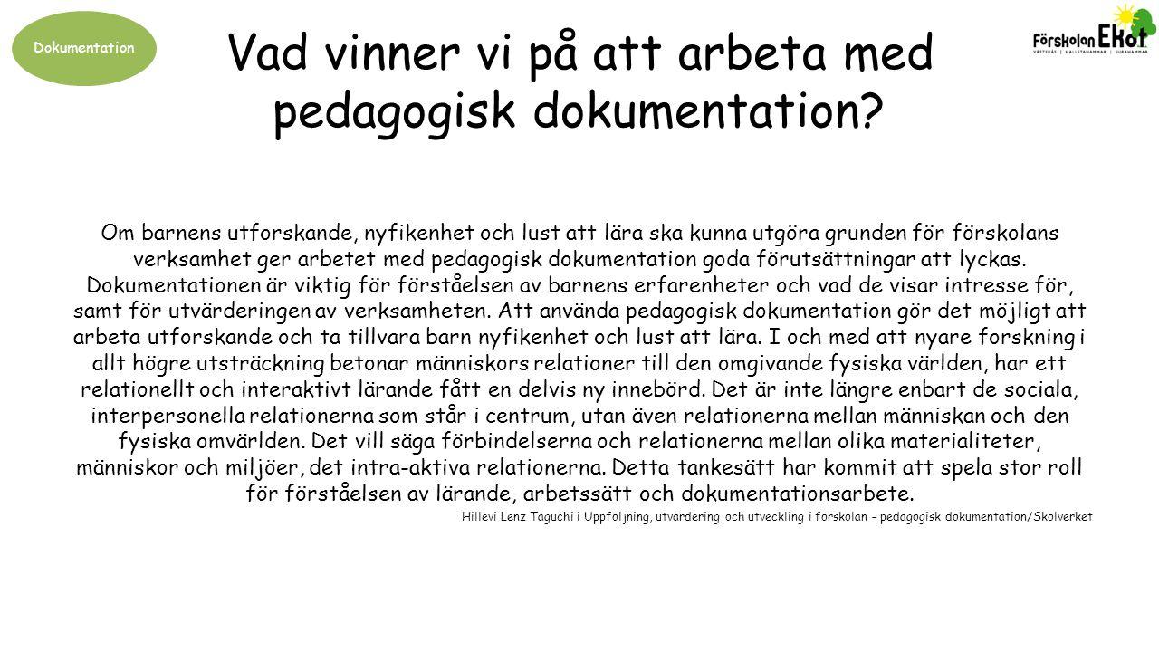 Vad vinner vi på att arbeta med pedagogisk dokumentation