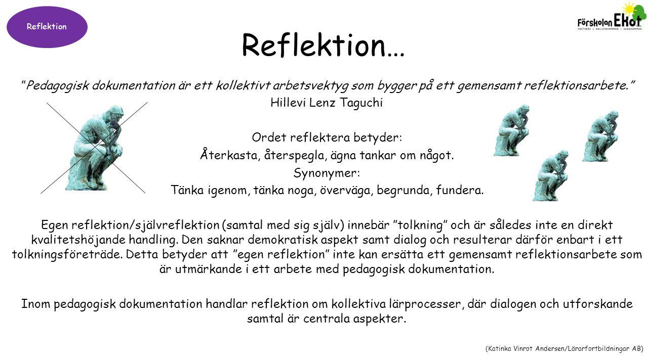 Reflektion Reflektion… Pedagogisk dokumentation är ett kollektivt arbetsvektyg som bygger på ett gemensamt reflektionsarbete.