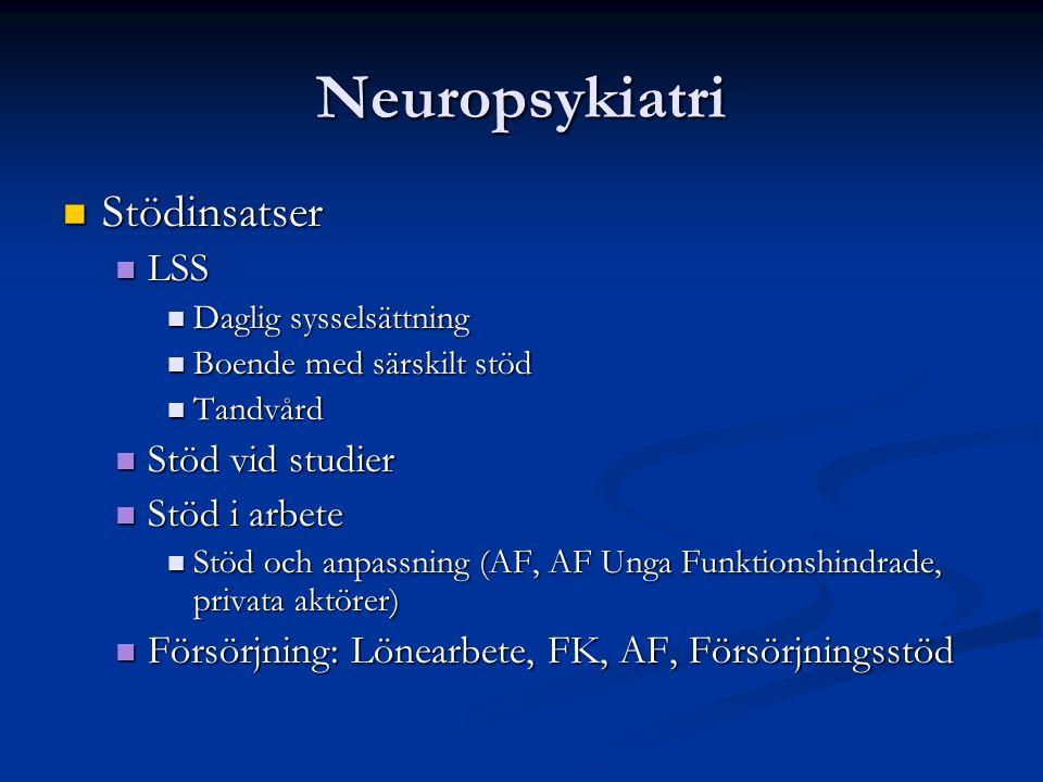 Neuropsykiatri Stödinsatser LSS Stöd vid studier Stöd i arbete