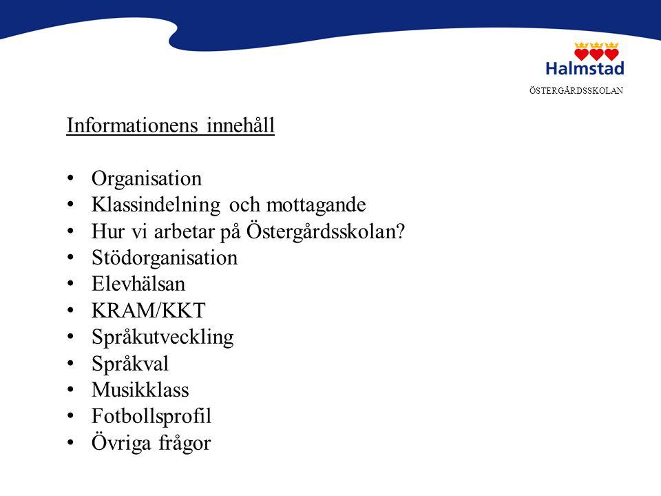 Informationens innehåll Organisation Klassindelning och mottagande