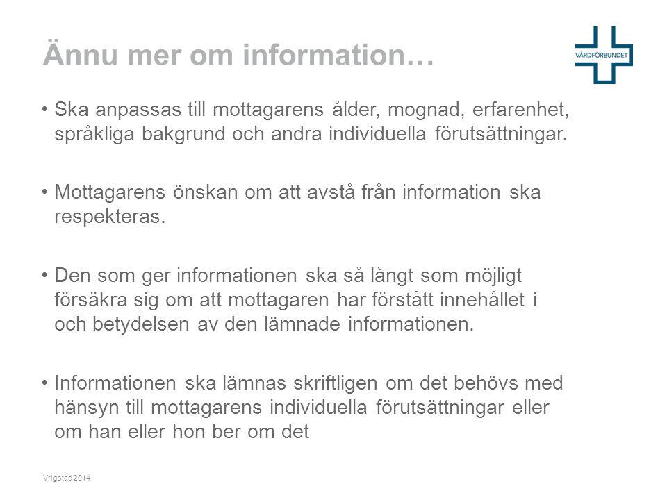 Ännu mer om information…
