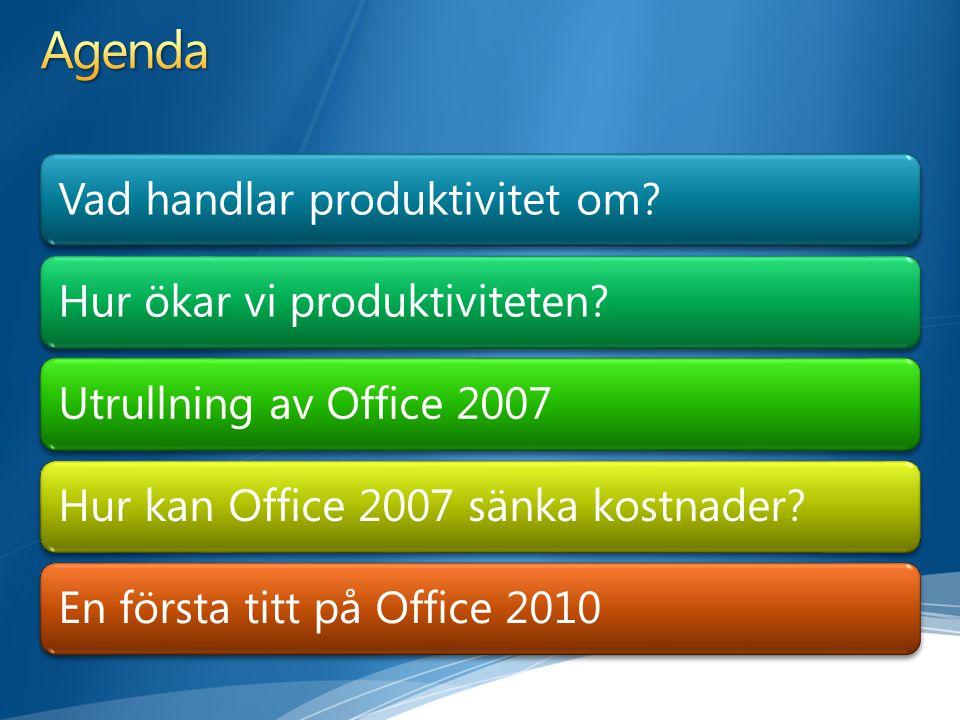 Agenda Vad handlar produktivitet om Hur ökar vi produktiviteten