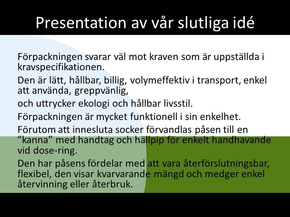 Presentation av vår slutliga idé