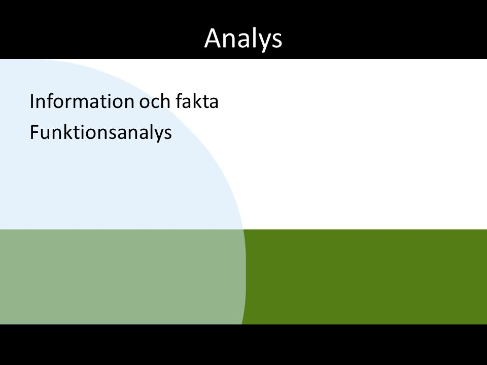 Analys Information och fakta Funktionsanalys