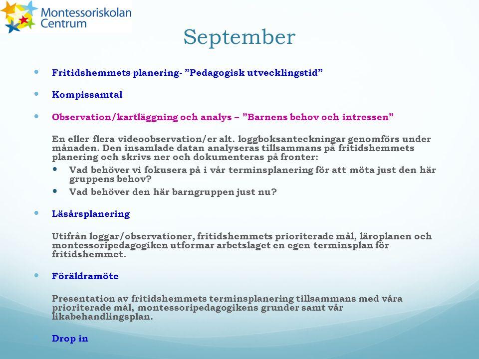 September Fritidshemmets planering- Pedagogisk utvecklingstid