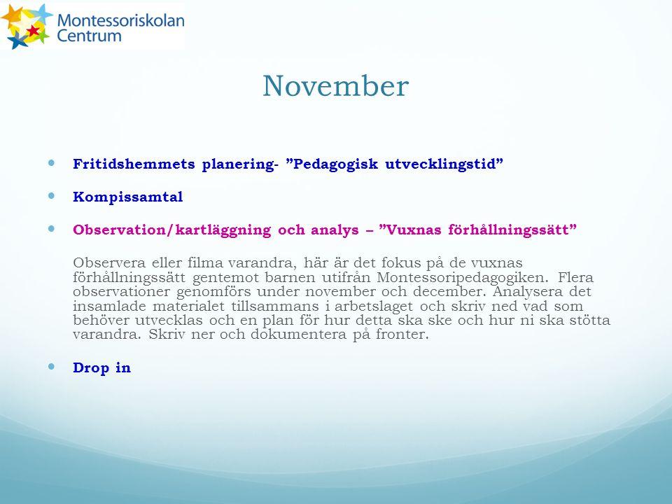 November Fritidshemmets planering- Pedagogisk utvecklingstid
