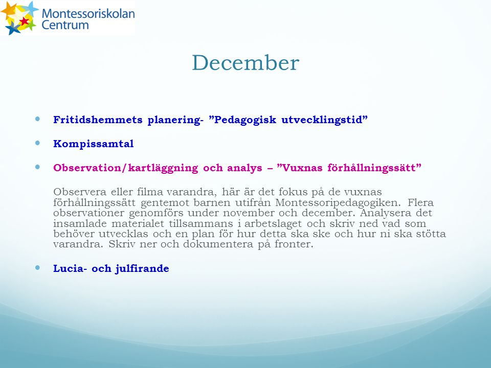 December Fritidshemmets planering- Pedagogisk utvecklingstid