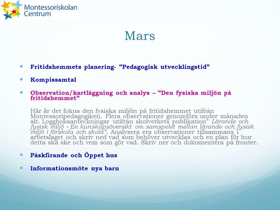 Mars Fritidshemmets planering- Pedagogisk utvecklingstid