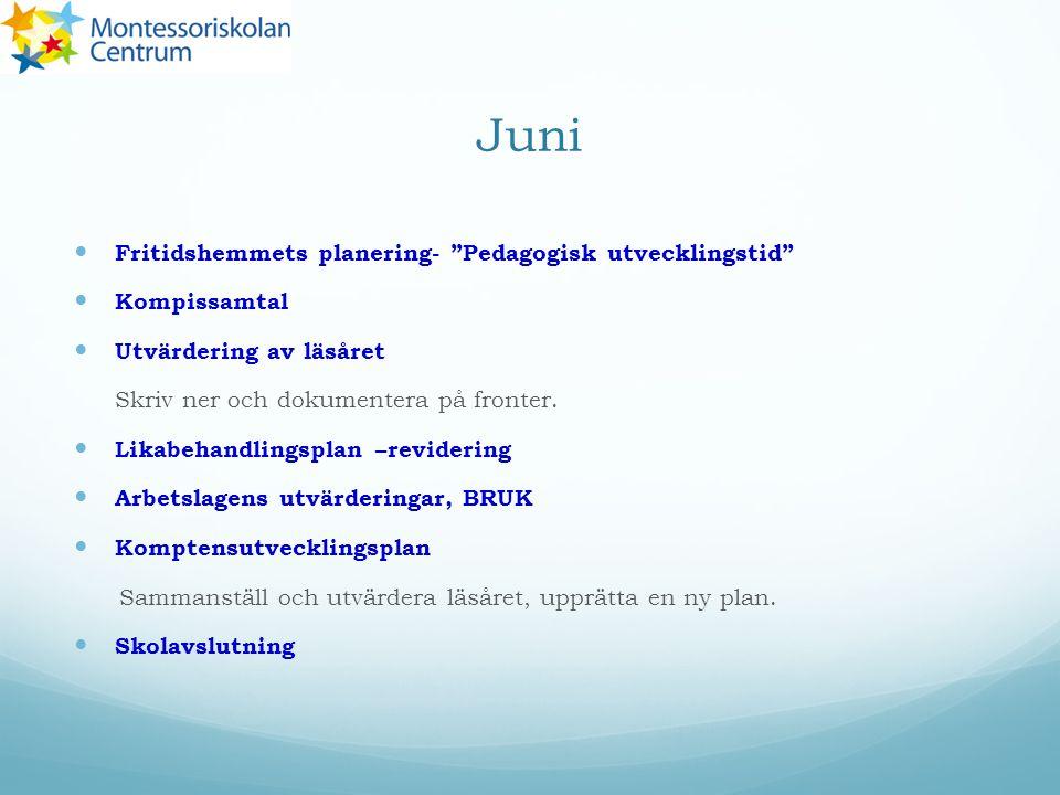Juni Fritidshemmets planering- Pedagogisk utvecklingstid