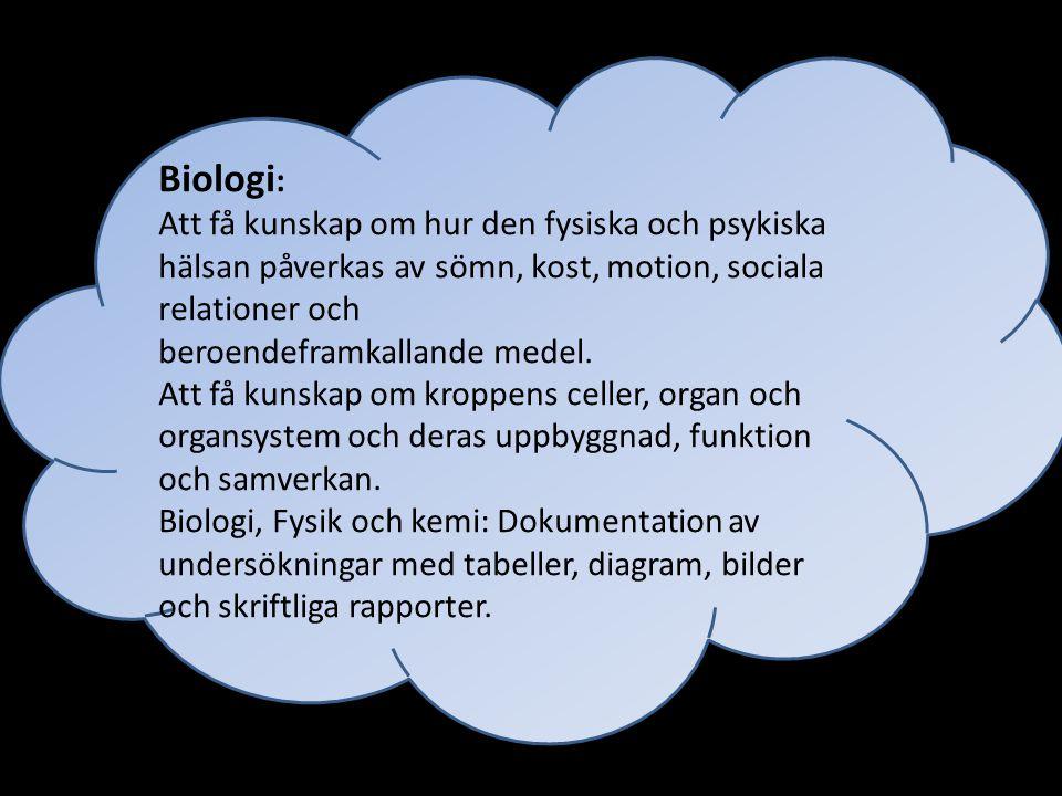 Biologi: Att få kunskap om hur den fysiska och psykiska hälsan påverkas av sömn, kost, motion, sociala relationer och.