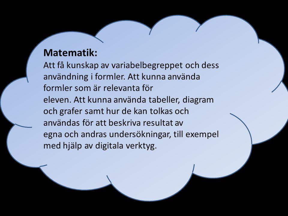 Matematik: Att få kunskap av variabelbegreppet och dess användning i formler. Att kunna använda formler som är relevanta för.