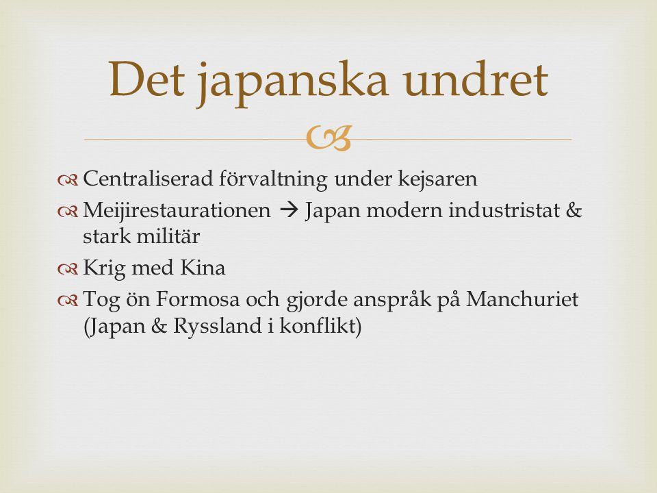 Det japanska undret Centraliserad förvaltning under kejsaren