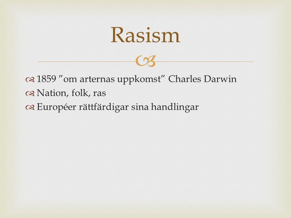 Rasism 1859 om arternas uppkomst Charles Darwin Nation, folk, ras