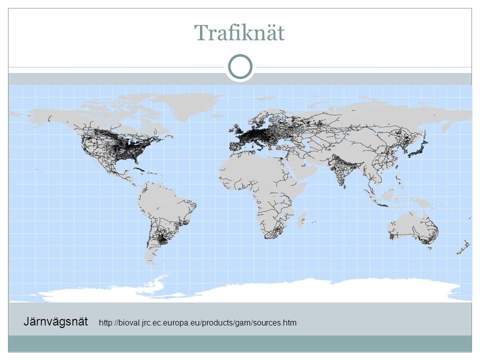 Trafiknät Järnvägsnät http://bioval.jrc.ec.europa.eu/products/gam/sources.htm