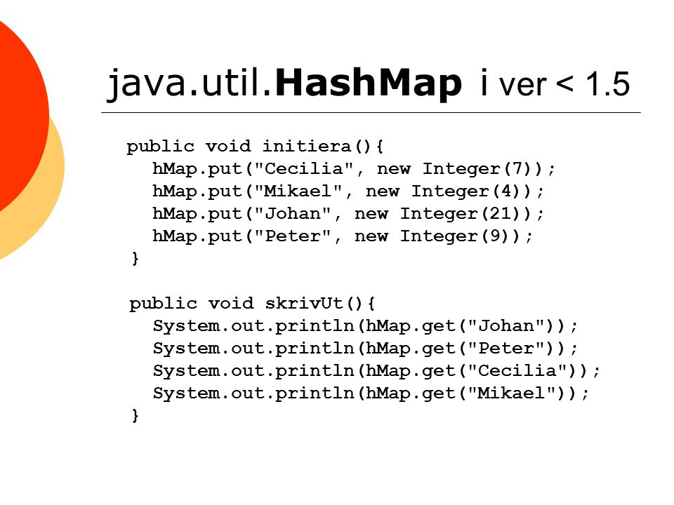 java.util.HashMap i ver < 1.5