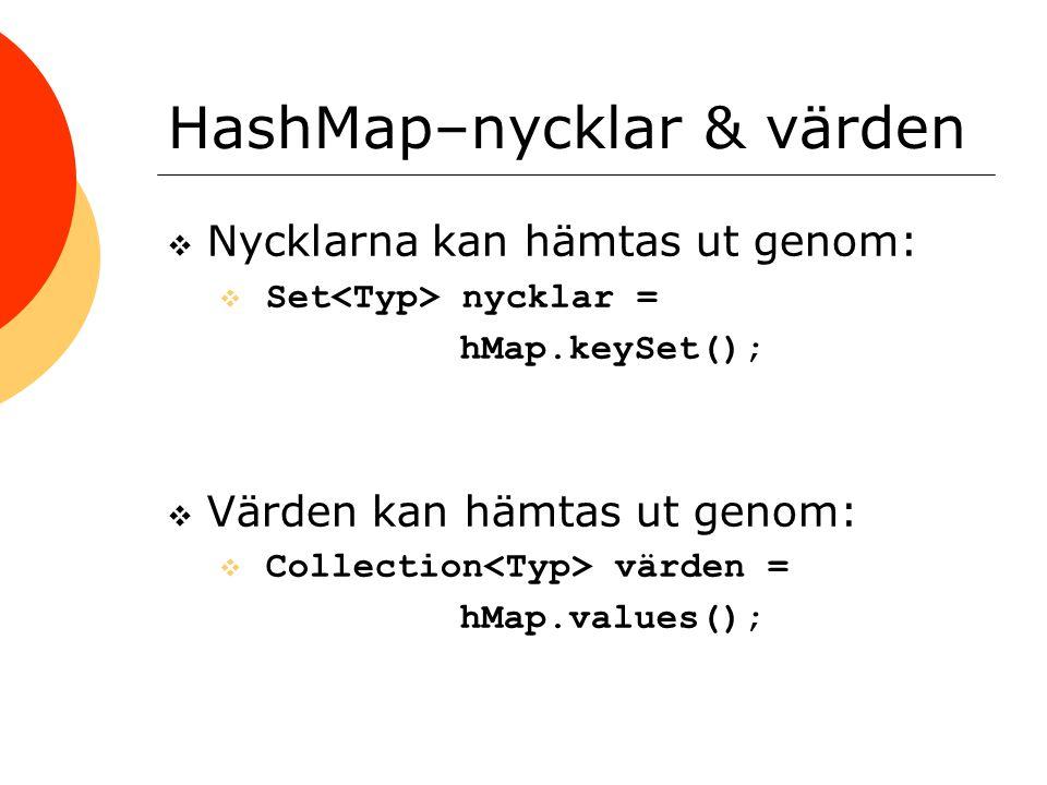 HashMap–nycklar & värden