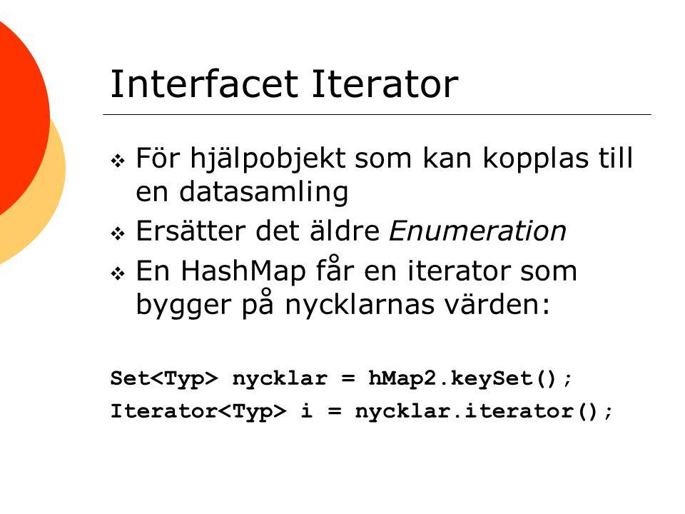 Interfacet Iterator För hjälpobjekt som kan kopplas till en datasamling. Ersätter det äldre Enumeration.