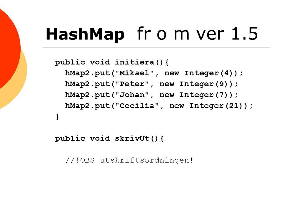 HashMap fr o m ver 1.5 public void initiera(){