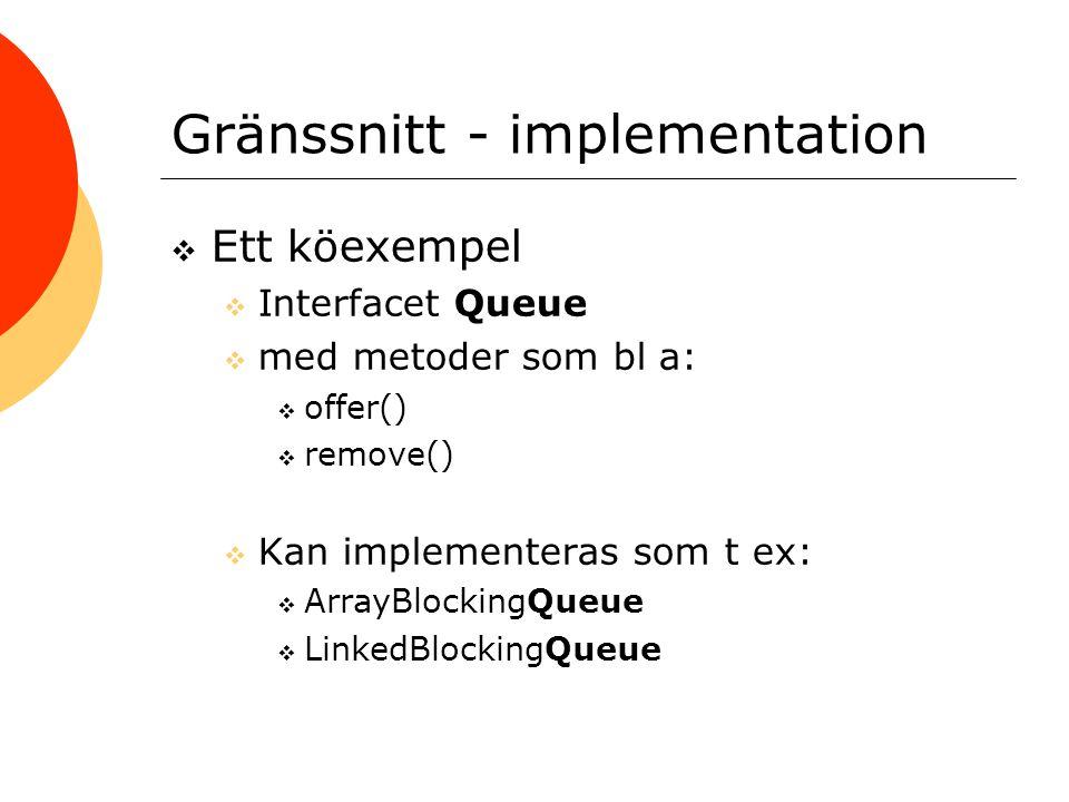 Gränssnitt - implementation