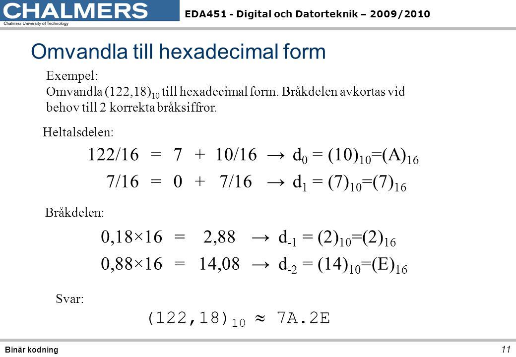 Omvandla till hexadecimal form