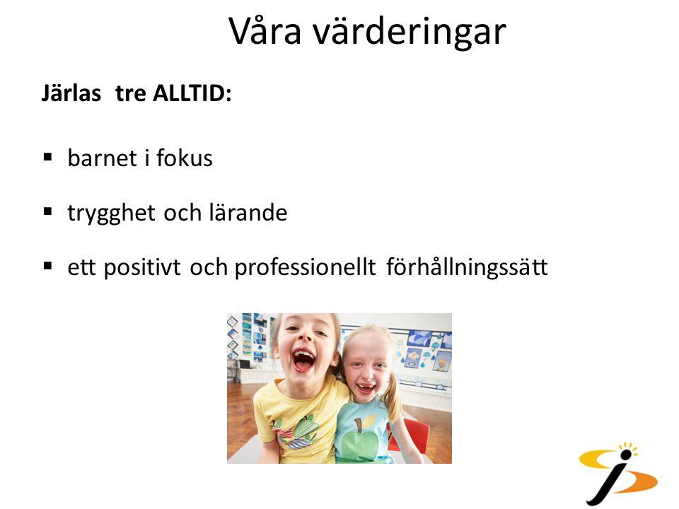 Våra värderingar Järlas tre ALLTID: barnet i fokus