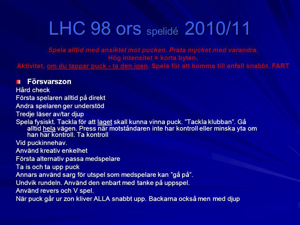 LHC 98 ors spelidé 2010/11 Försvarszon