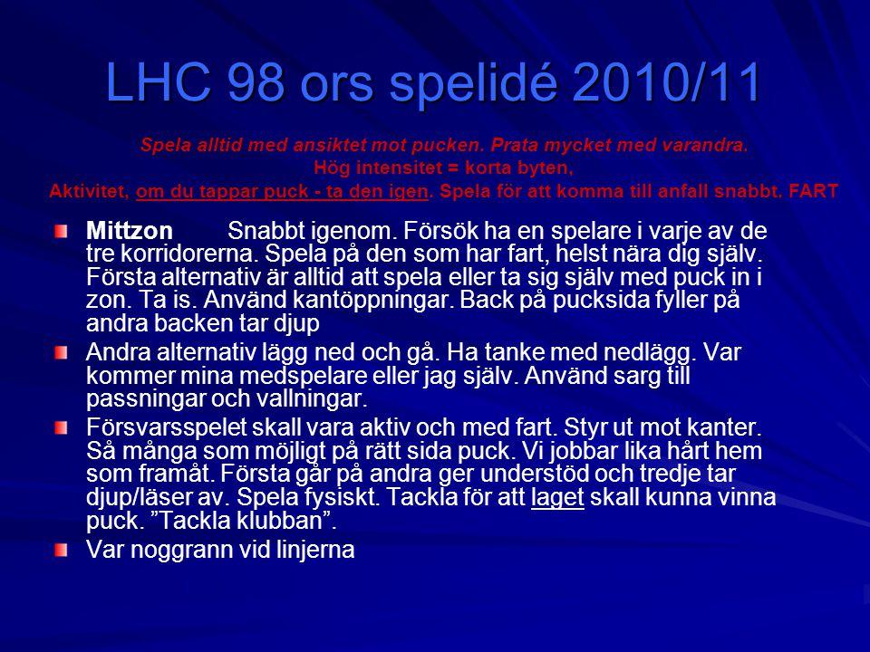 LHC 98 ors spelidé 2010/11 Spela alltid med ansiktet mot pucken. Prata mycket med varandra. Hög intensitet = korta byten,