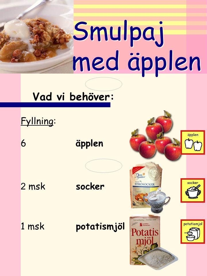 Smulpaj med äpplen Vad vi behöver: Fyllning: 6 äpplen ... 2 msk socker