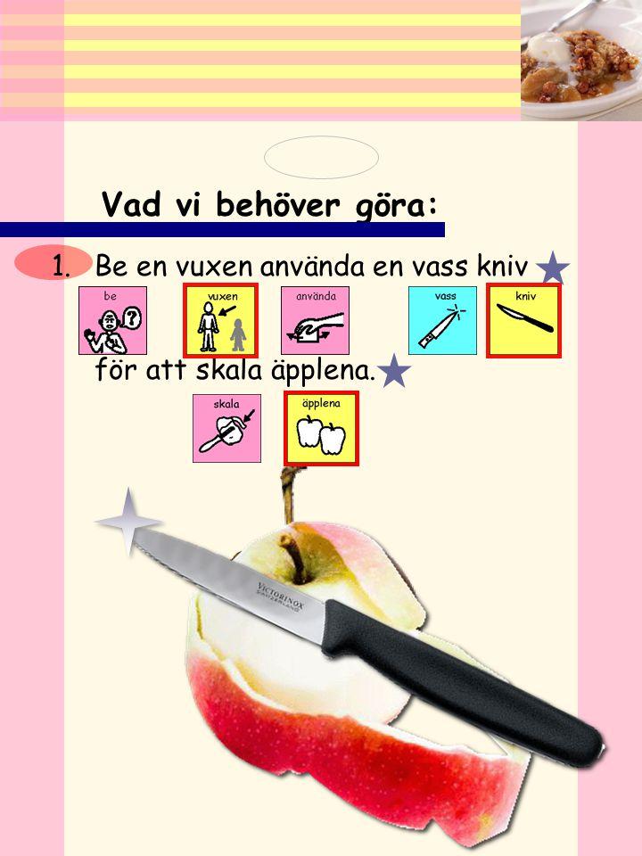 Vad vi behöver göra: Be en vuxen använda en vass kniv