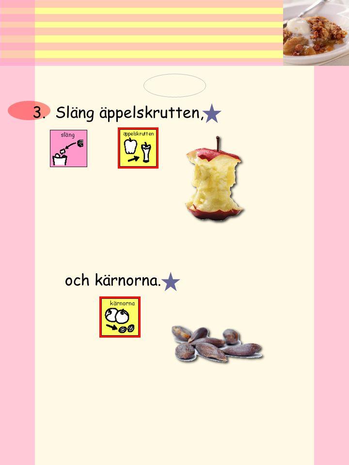 3. Släng äppelskrutten, och kärnorna.