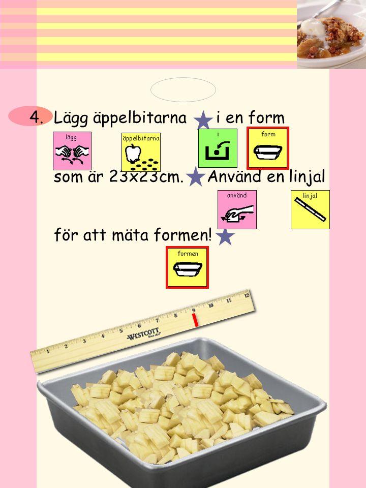 Lägg äppelbitarna i en form