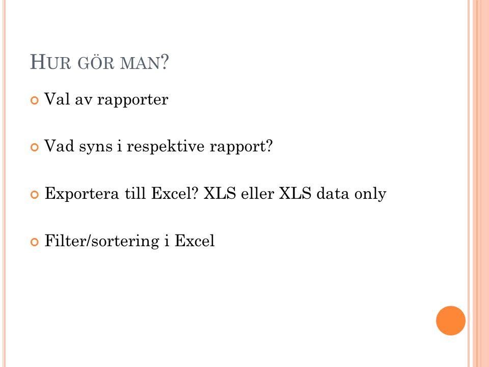 Hur gör man Val av rapporter Vad syns i respektive rapport