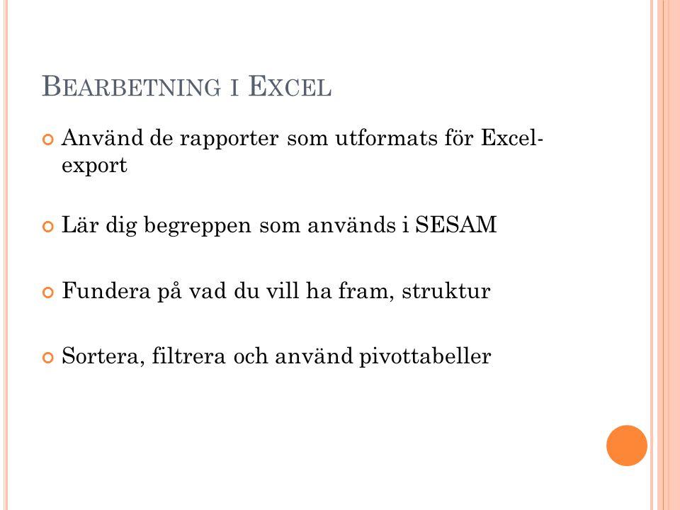 Bearbetning i Excel Använd de rapporter som utformats för Excel- export. Lär dig begreppen som används i SESAM.